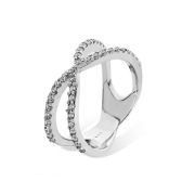 Sterling silver Cubic Zirconia crossover statement ring